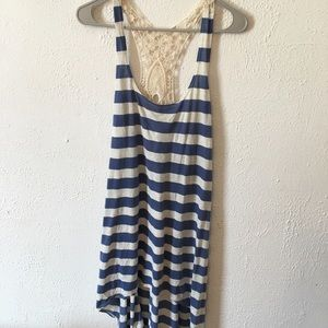 Lucky brand blue striped bathing suit cover up
